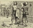 """Obadiah Holmes, """"Whipping of Obadiah Holmes"""" shows him being defiant prior to his public whipping in Boston, SEP 1651. Engraving made in 1881 by Charles Reinhart. Engraving only shown here."""