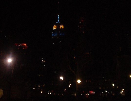 The Empire State Building salutes Art & Design with blue and gold colors on February 23rd.