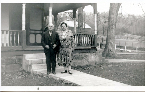 Judge William Henry Potter and his second wife, Bettye, in front of their Huntsville home  It is now Four Oaks Funeral Home