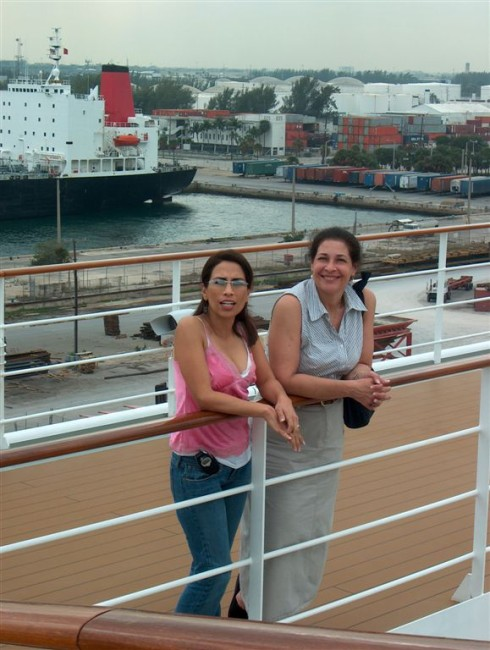 Olivia and Susan on deck in Port Everglades