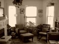 living room in sepia tones