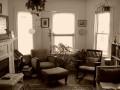 living room in sepia tones
