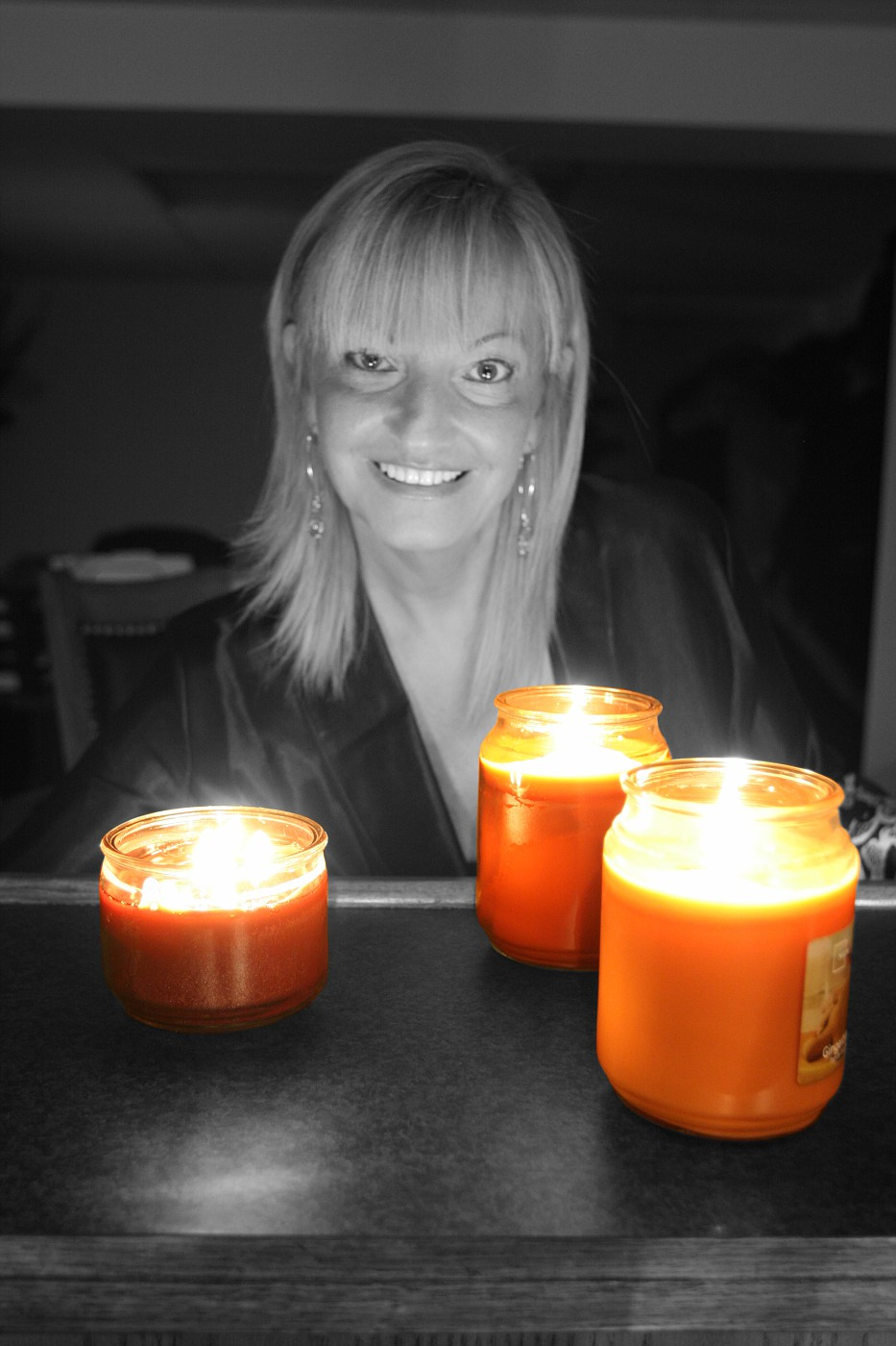 Candles Glowing in a Monochrome Photo