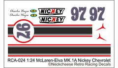 RCA-024 1-24 McLaren Elva Nickey, DKK 50,- / € 6,70 + postage