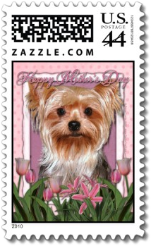 Mothers Day - Pink Tulips - Yorkshire Terrier stamp