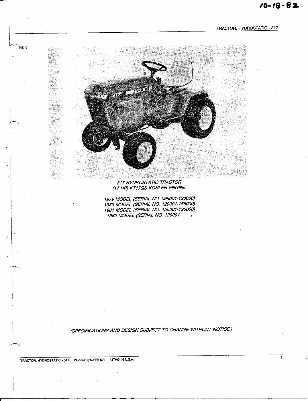 Tractor Parts Catalog : Photo john deere hydrostatic tractor parts catalog