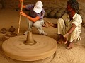Shelly try to spin potters wheel