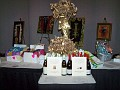 Wine and gift boxes with beautiful kaftans for the raffle.