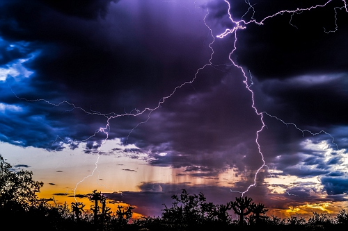 Close sunset lightning