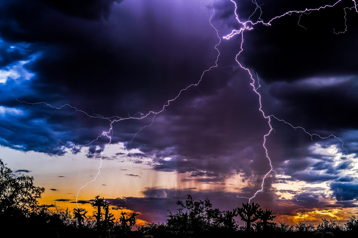 Close sunset lightning