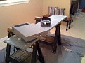 Thursday December 10 2009  8:40 PM.   Yoga class is over.  Now work on evening projects.  Re-Finish my Homemade Computer Workstation Counter Top and Slide Base.  Love My Kitcken Blue / Bleached Denim.
