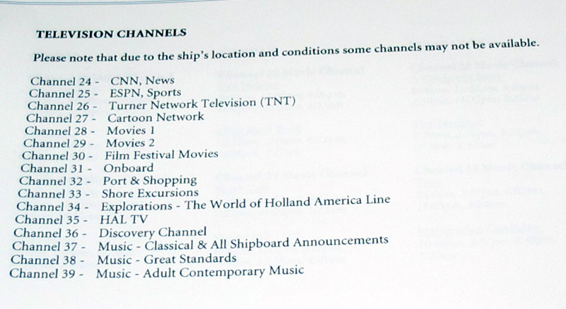 TV Channels Westerdam
