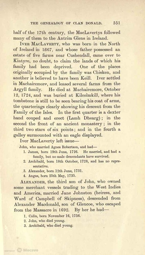 Iver MacLaverty & history of the MacLaverty family, The Genealogy of Clan Donald, p. 551