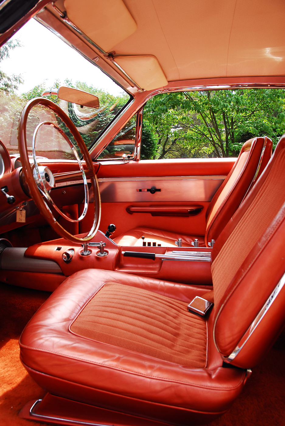 21 1963 Chrysler Ghia Turbine Car vertical front interior bucket seat detail view