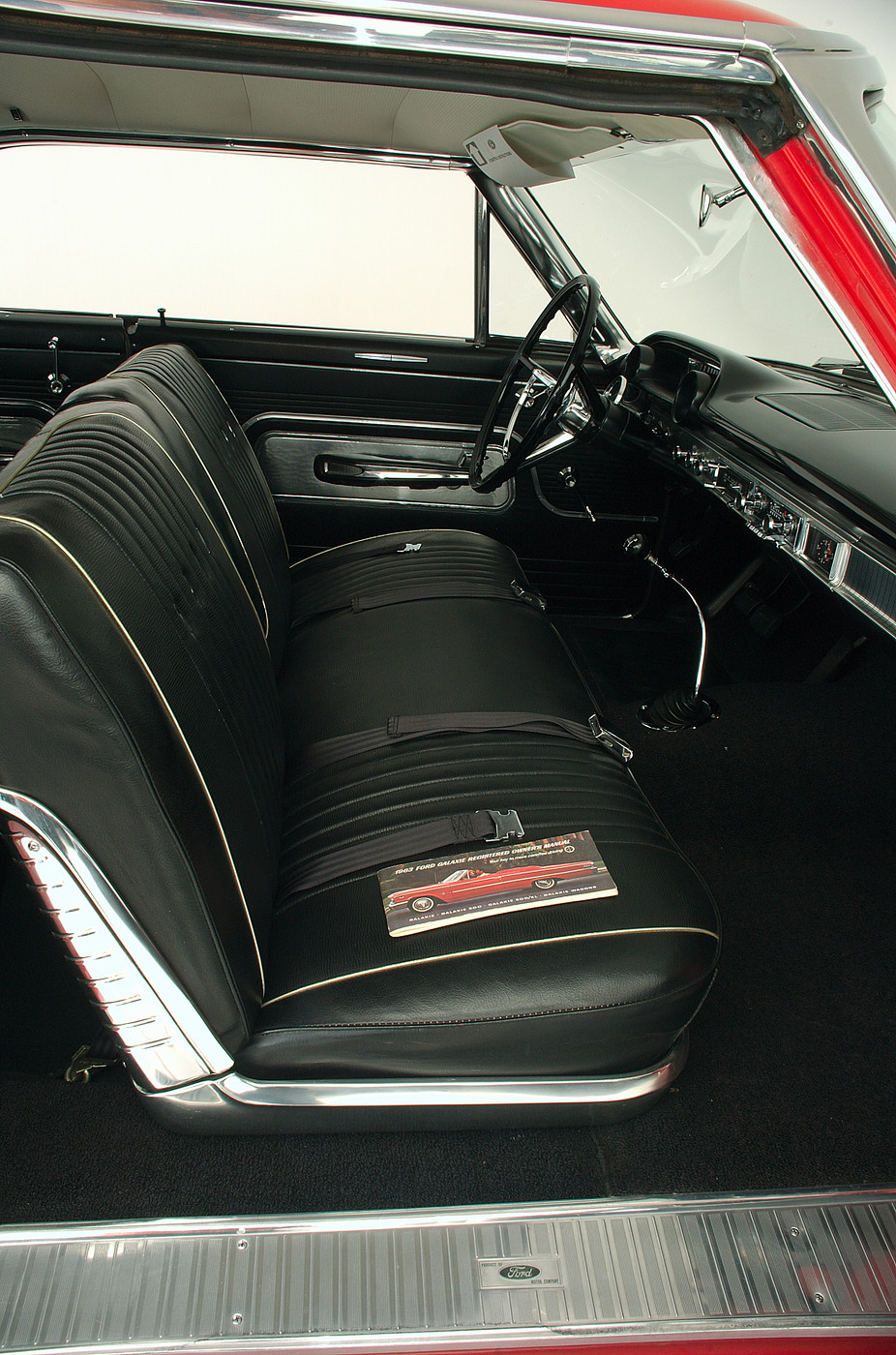1963 Ford Galaxie 500 XL 427 R-code passenger-side vertical interior view with owner's manual