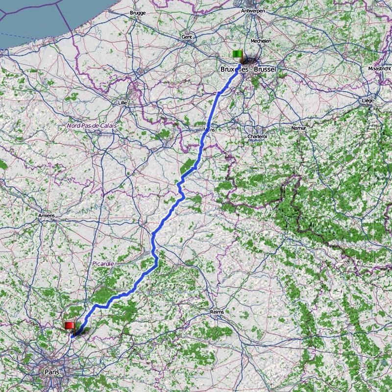 Route Brüssel-Paris-Brüssel
