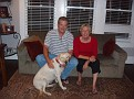 Marcus & Loretta Holmberg Halsey with Lab Lola in their living room, ABT 2006. Photo courtesy of Marcus Halsey.